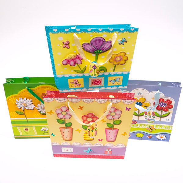 Large Fun With Flowers Gift Bags - pkg12