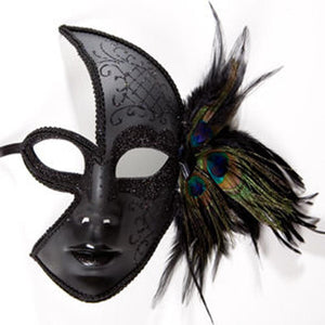 Black Venetian Feather Face Mask