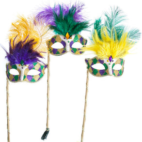 Mardi Gras Handheld Glitter Venetian Feather Mask
