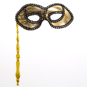 Handheld Gold Half Mask with Lace