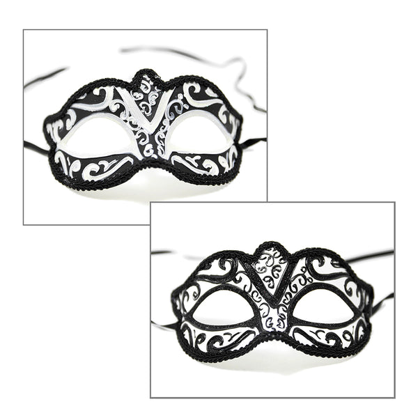 Black and White Swirl Venetian Half Mask