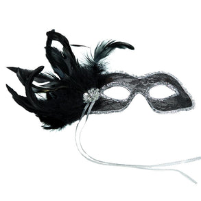 Black Fancy Masquerade Mask With Feathers