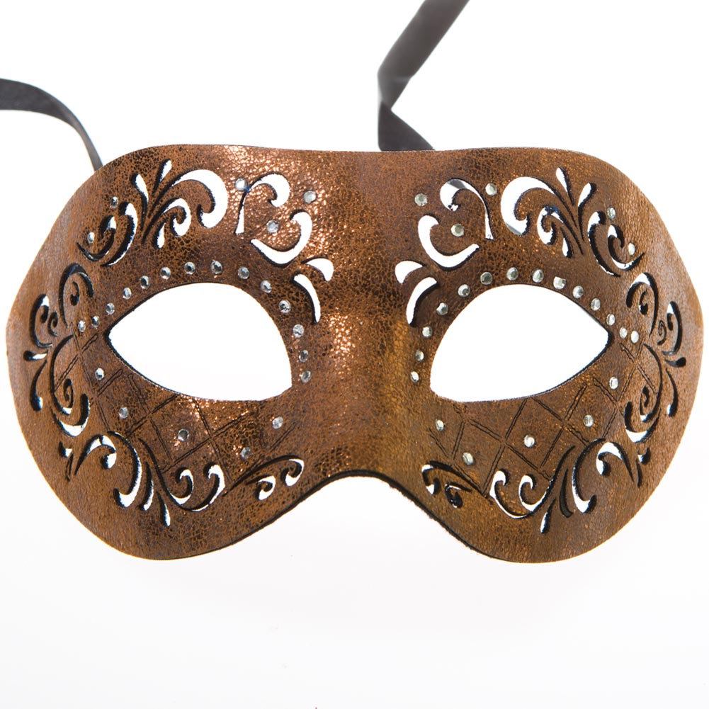 Brown Leather Cut Half Mask