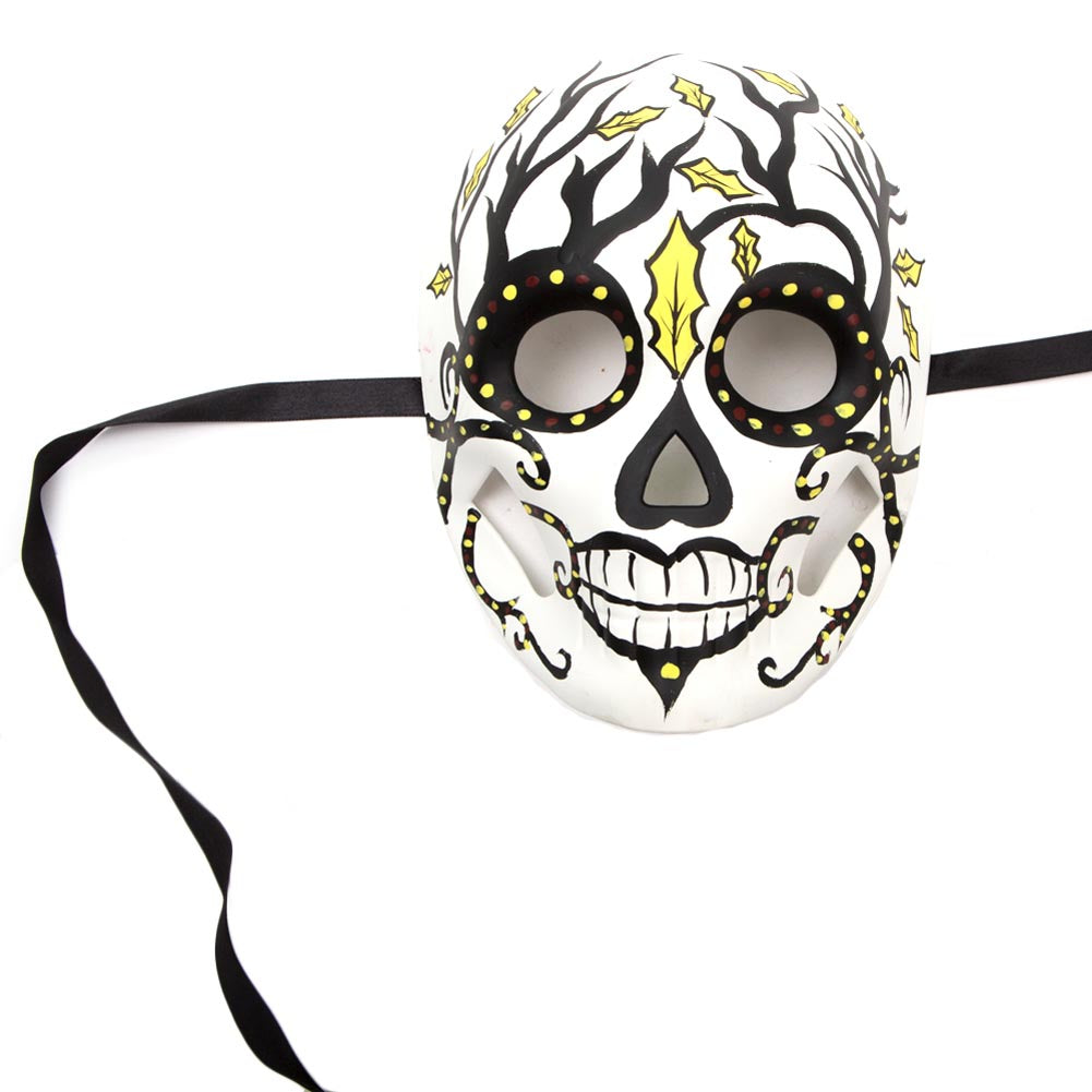 Black and Yellow Day of The Dead Full Mask