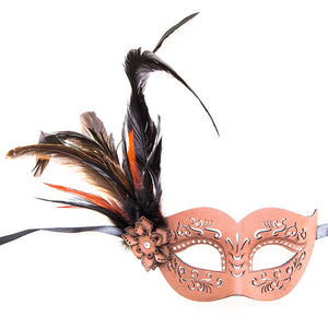 Brown Leather Cut Half Feather Mask