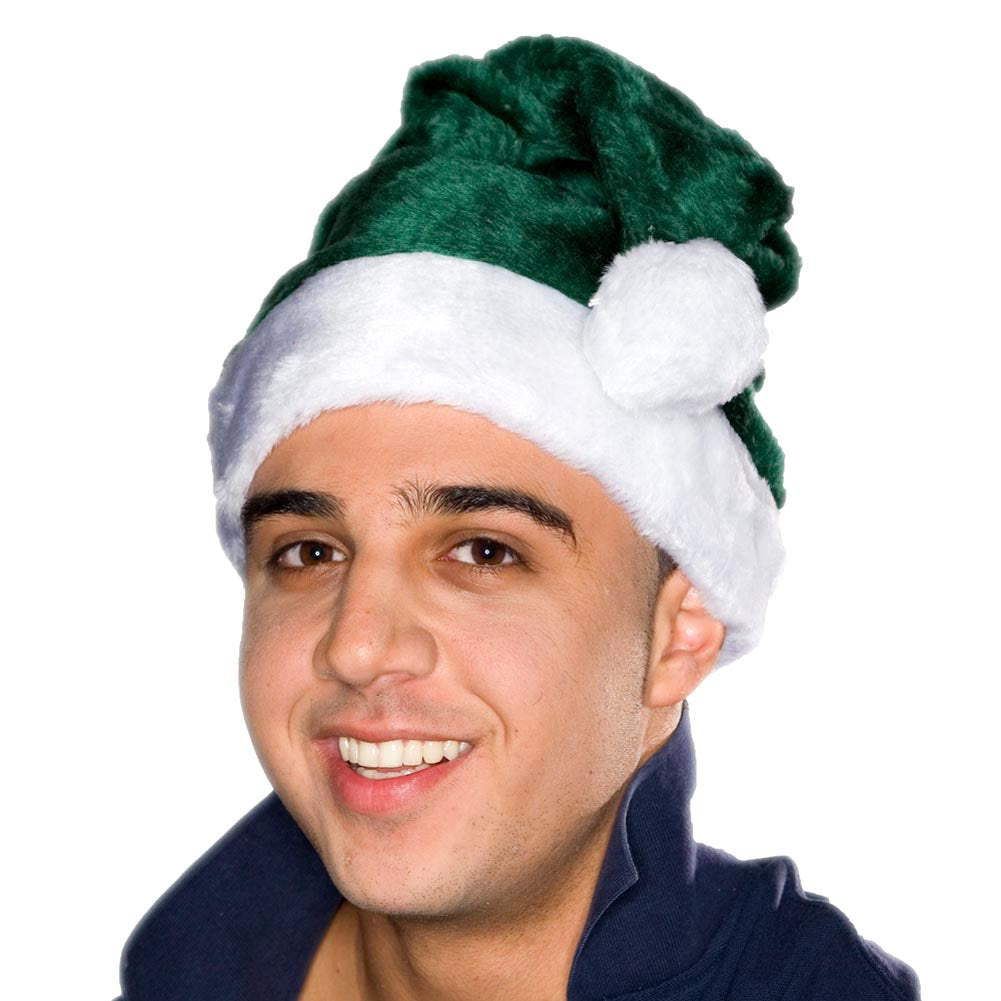 Adult Green Plush Santa Hat