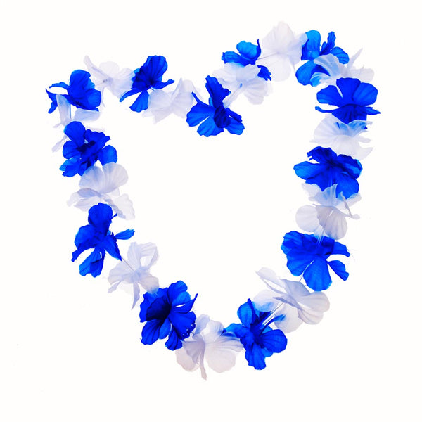 Blue & White Flower Lei