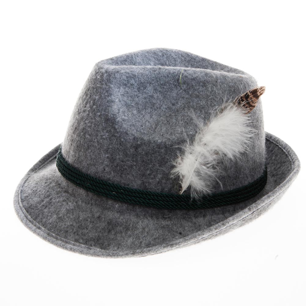 Grey Feathered Oktoberfest Hat