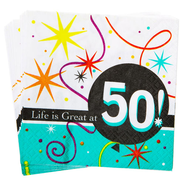 Life is Great at 50 Beverage Napkins