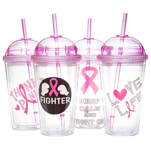 Pink Ribbon 16 oz. Dome Travel Cup