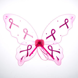 Pink Ribbon Glitter Wings