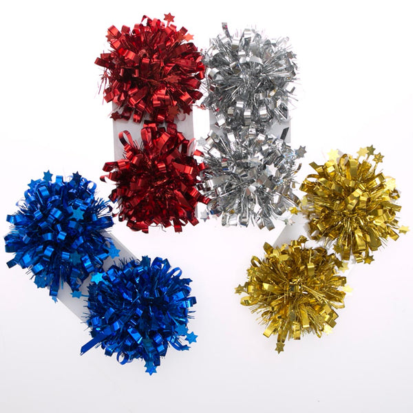 Holiday Star Pom Pom Gift Bow Sets