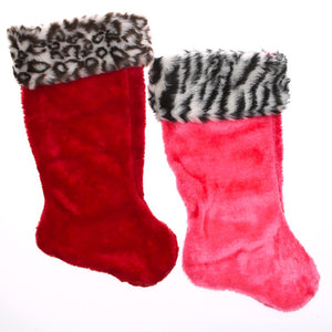 Plush Animal Print Cuff Christmas Stocking