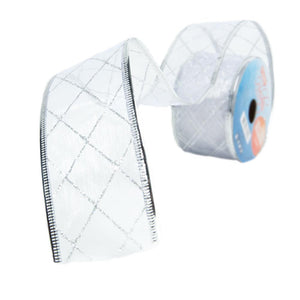 Silver Crisscross Wire Edge Glitter Ribbon