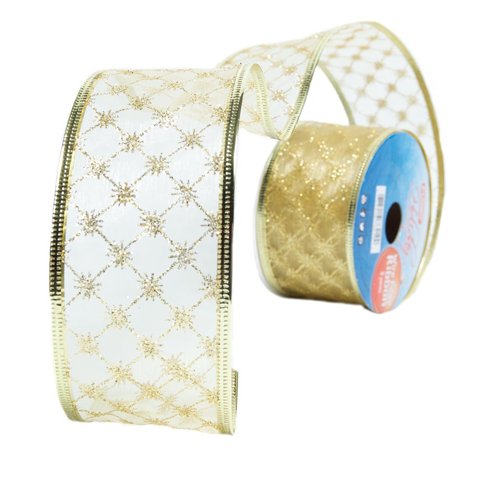 Gold Crisscross Wire Edge Glitter Ribbon
