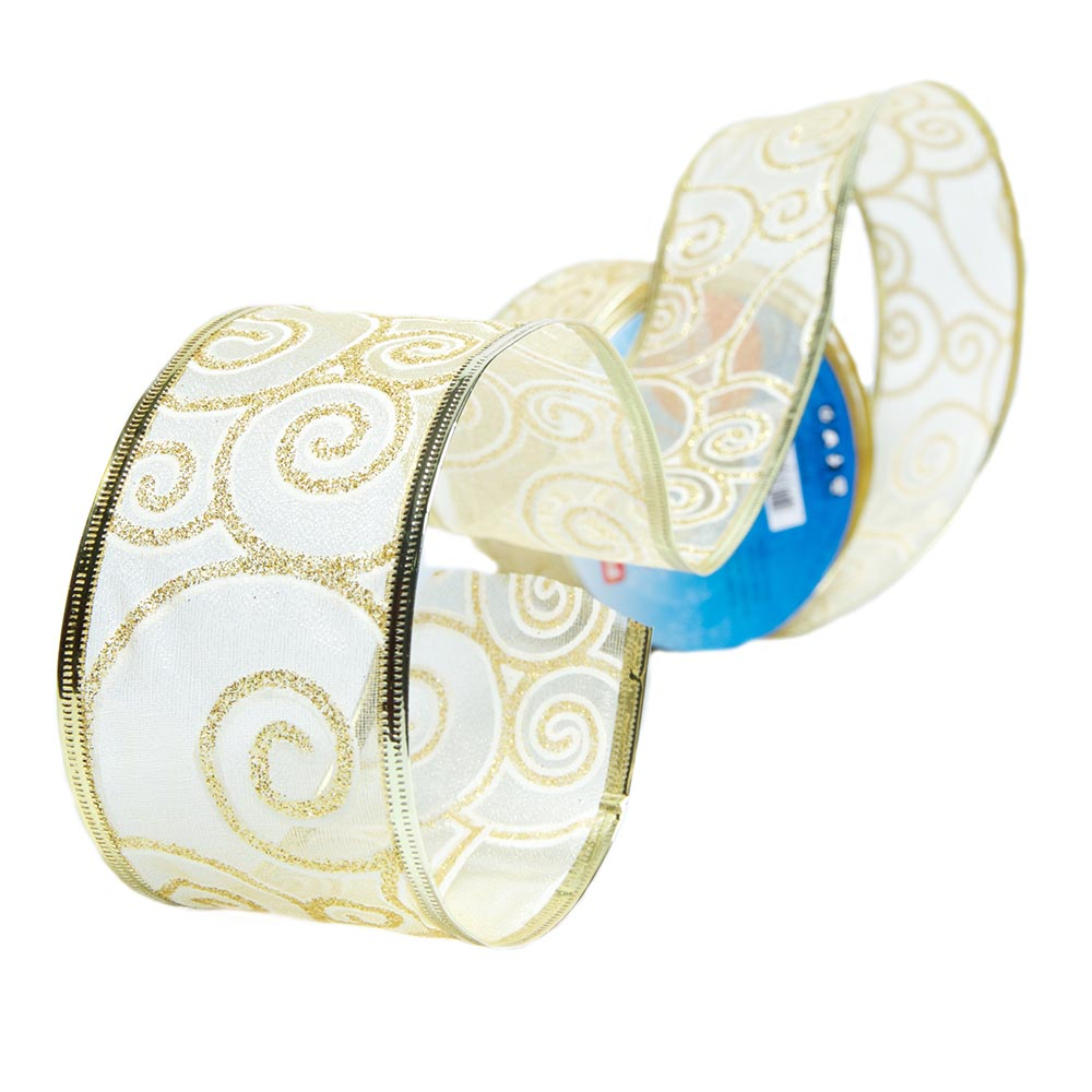 Gold Scroll Wire Edge Glitter Ribbon