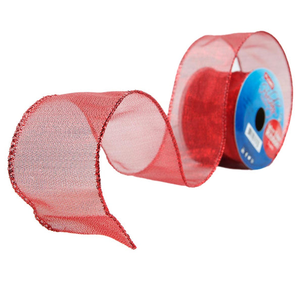 Red Wire Edge Ribbon