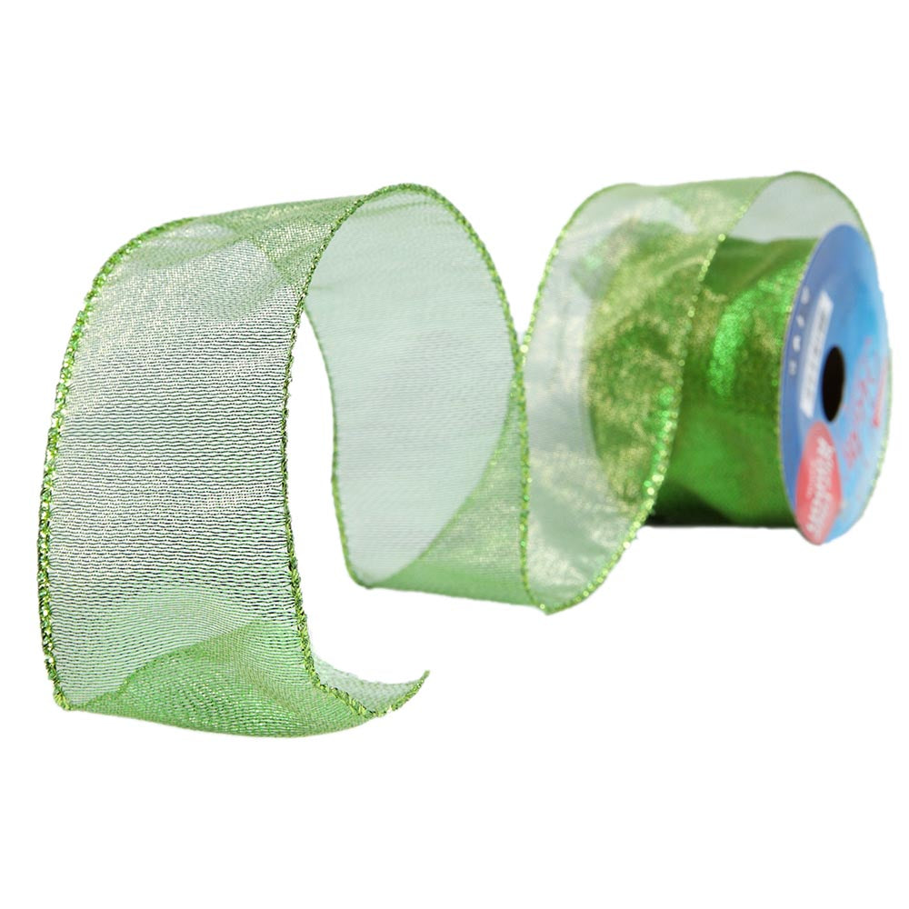 Green Wire Edge Ribbon