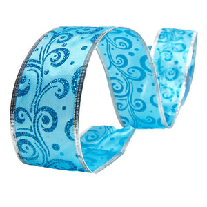 Blue Scroll Wire Edge Glitter Ribbon