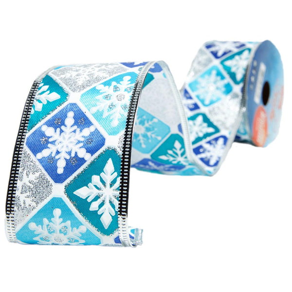 Snowflake Wire Edge Glitter Ribbon