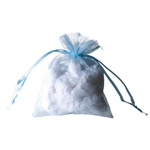 Light Blue Organza Drawstring Bags