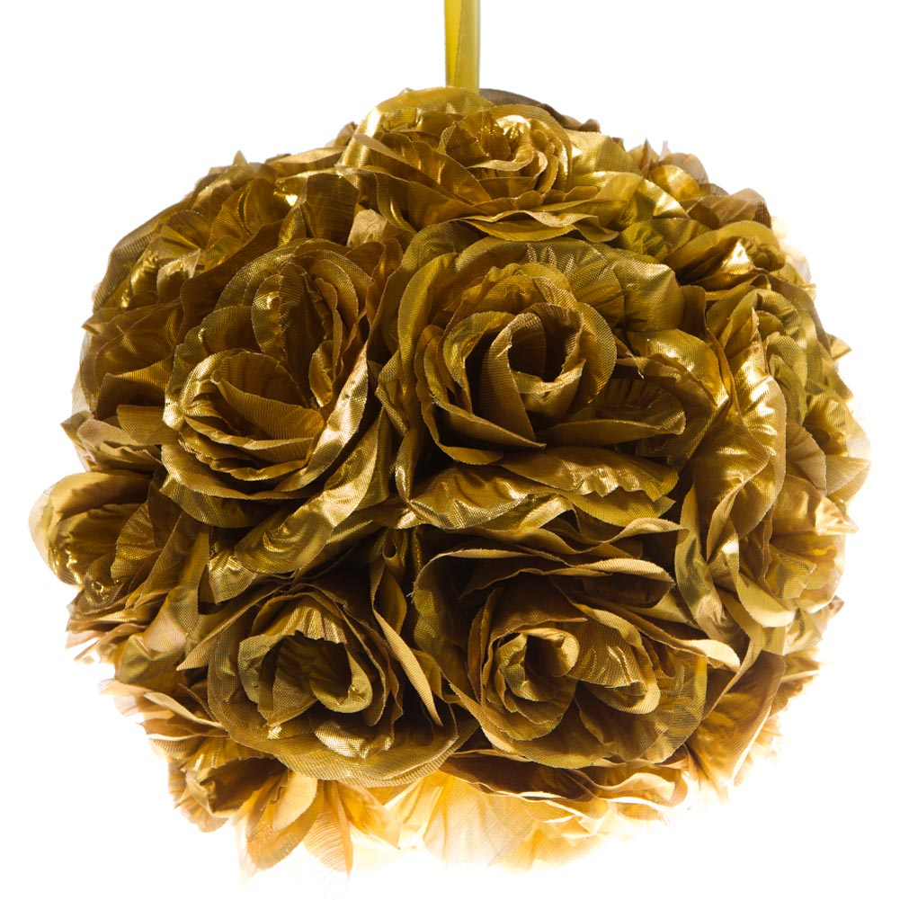 "10"" Gold Flower Pomander Kissing Ball"