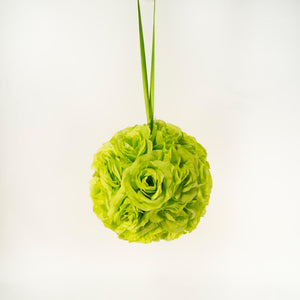 "10"" Apple Green Flower Pomander Kissing Ball"