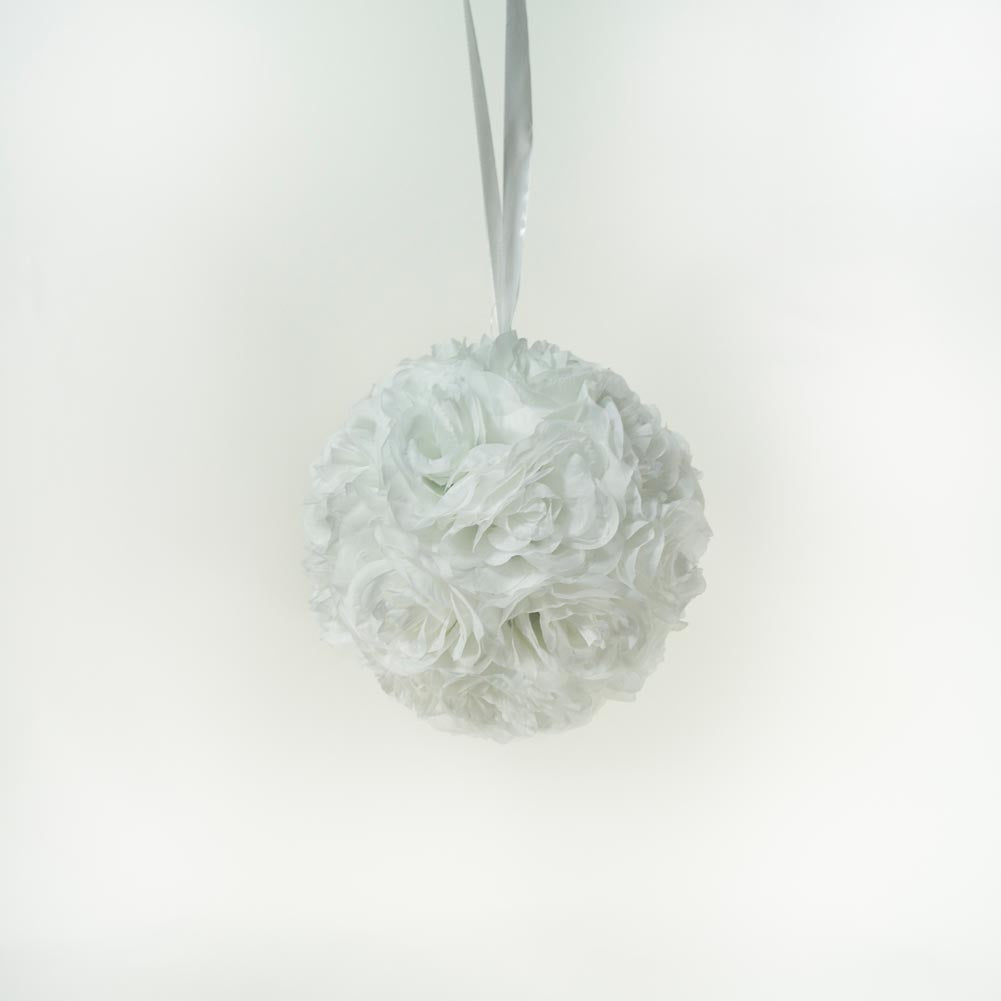 "10"" White Flower Pomander Kissing Ball"