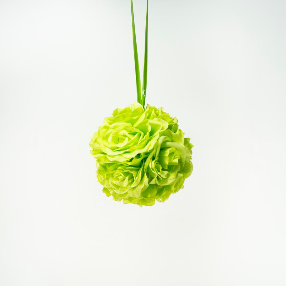 "7"" Apple Green Flower Pomander Kissing Ball"