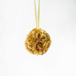 "7"" Gold Flower Pomander Kissing Ball"