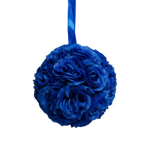 "10"" Royal Blue Flower Pomander Kissing Ball"