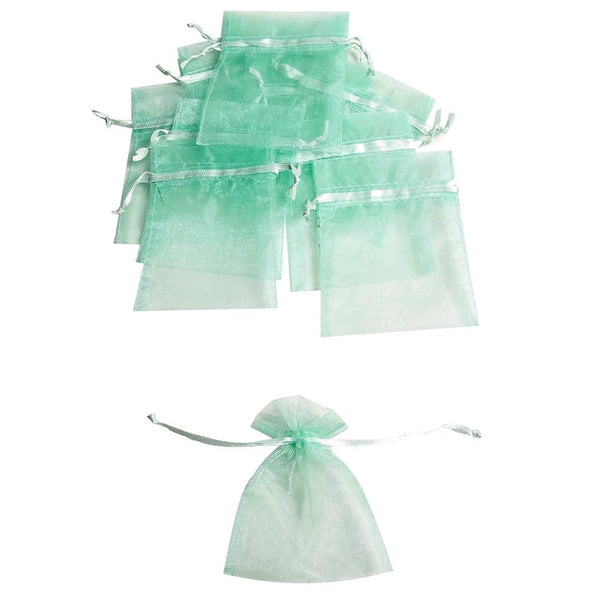 Mini Mint Organza Drawstring Bags