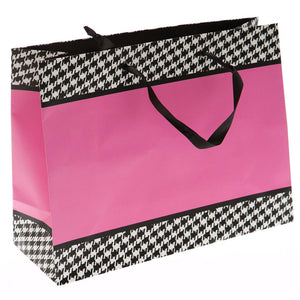 Large Pink and Houndstooth Gift Bag