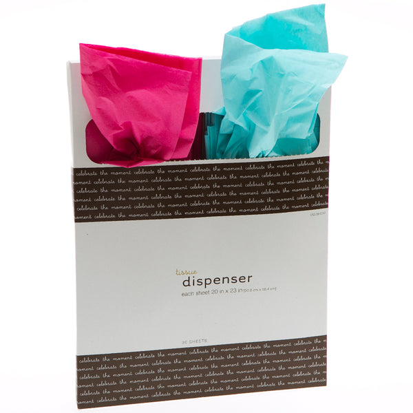 Hot Pink and Aqua Tissue Paper Dispenser Pack