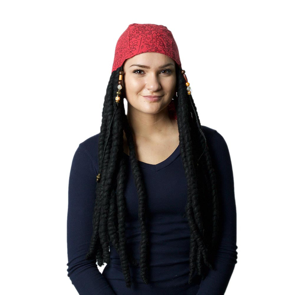 Pirates Of The Caribbean Jack Sparrow Scarf & Wig