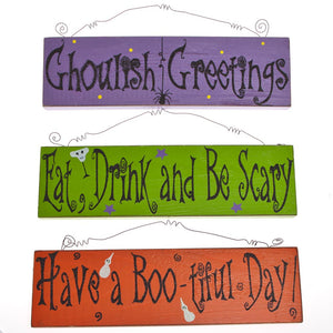 Wooden Halloween Glitter Signs