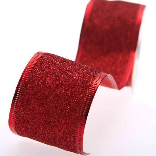 Red Wire Edge Glitter Ribbon
