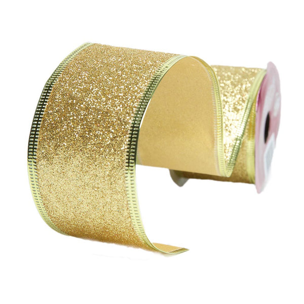 Gold Wire Edge Glitter Ribbon