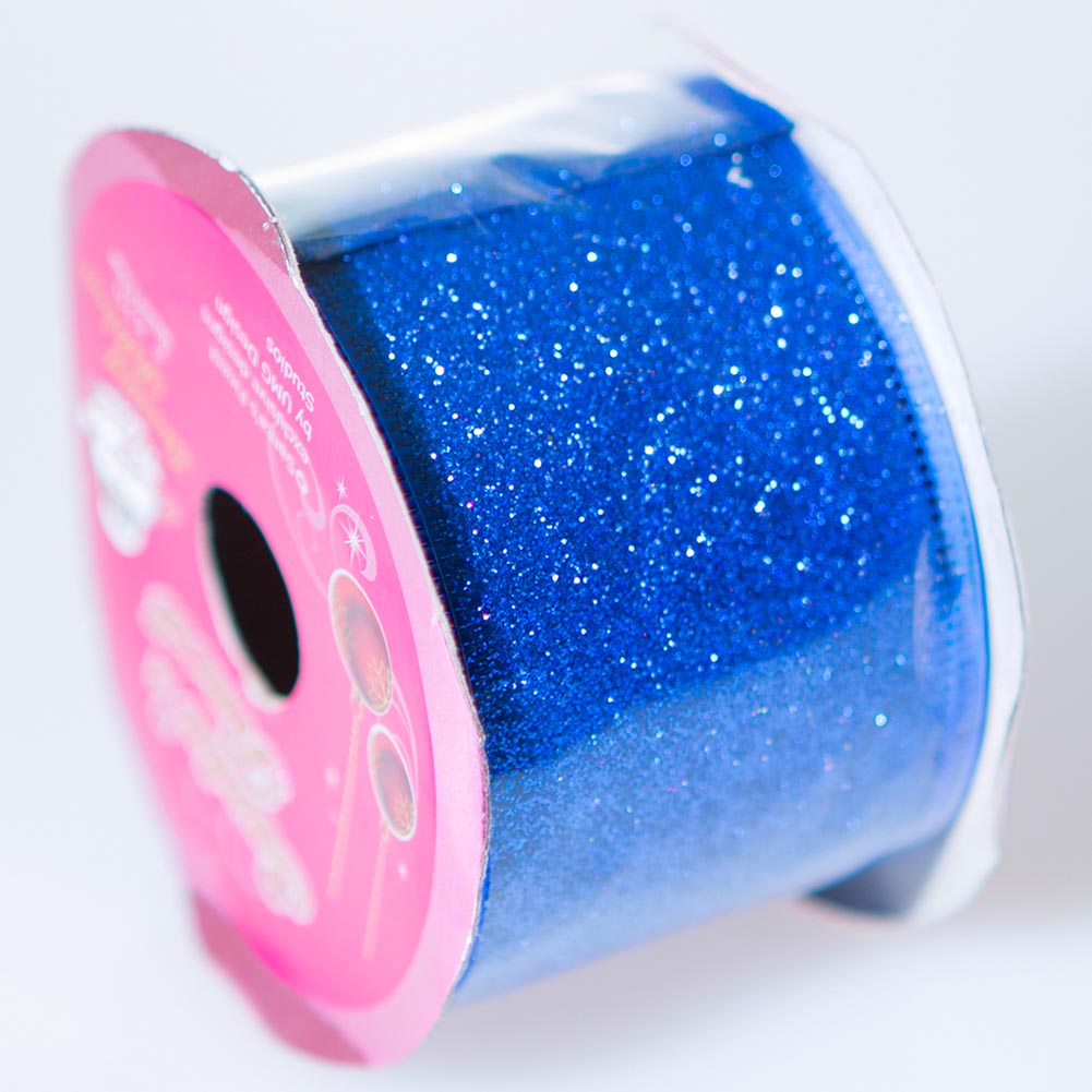 Blue Wire Edge Glitter Ribbon