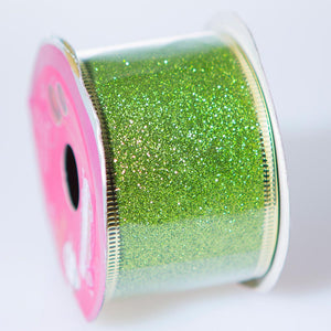Chartreuse Wire Edge Glitter Ribbon