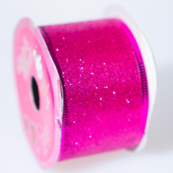 Fuchsia Wire Edge Glitter Ribbon