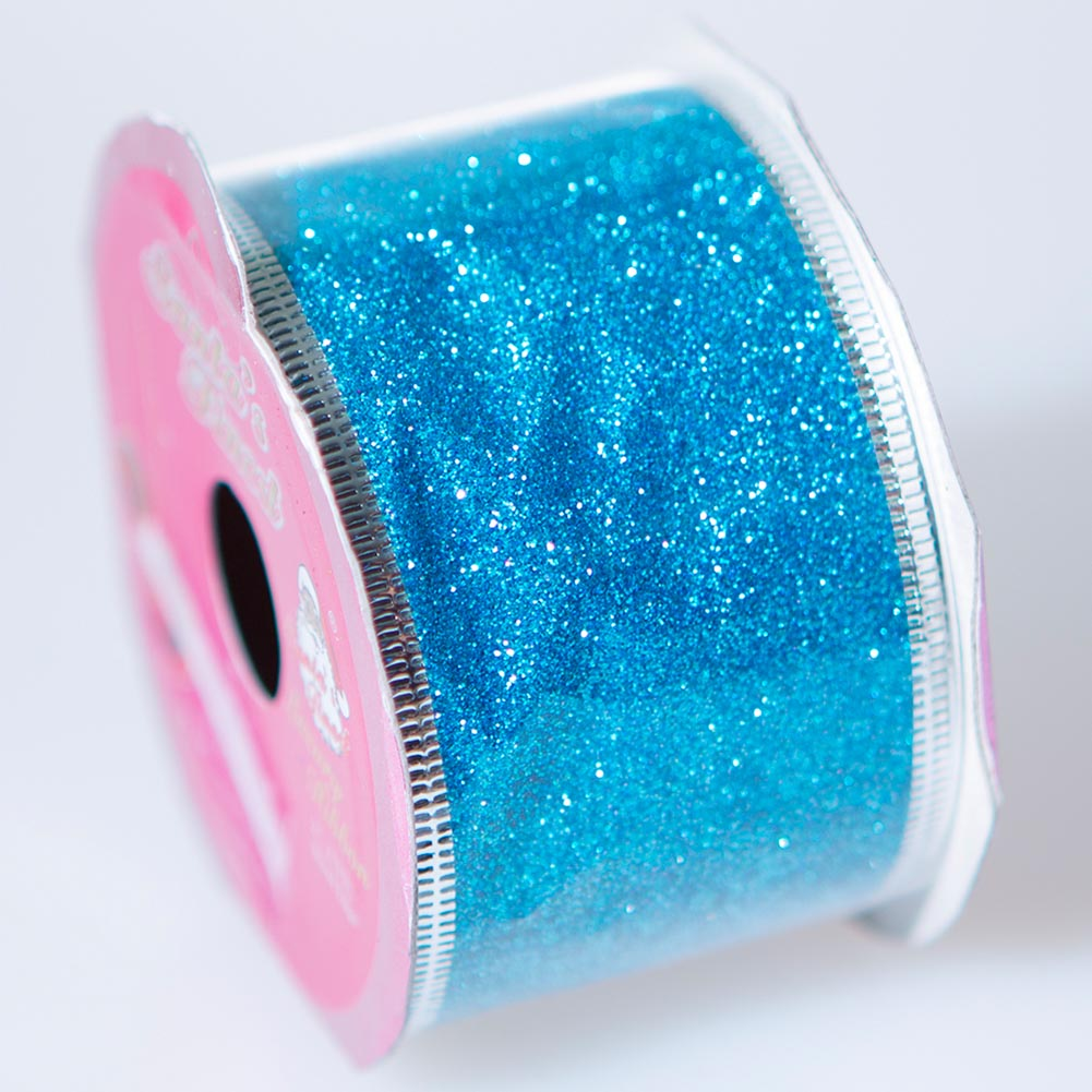 Turquoise Wire Edge Glitter Ribbon