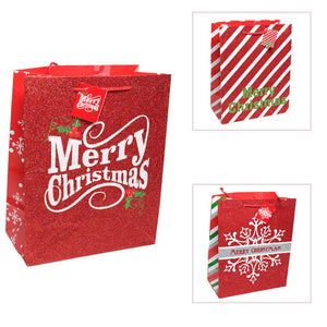 Large Glitter Merry Christmas Gift Bag