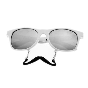 White Handlebar Mirrored Sun-Stache