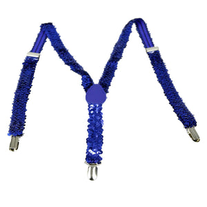Blue Sequin Suspenders