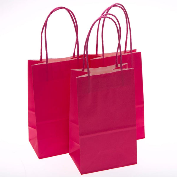 Small Hot Pink Kraft Gift Bags