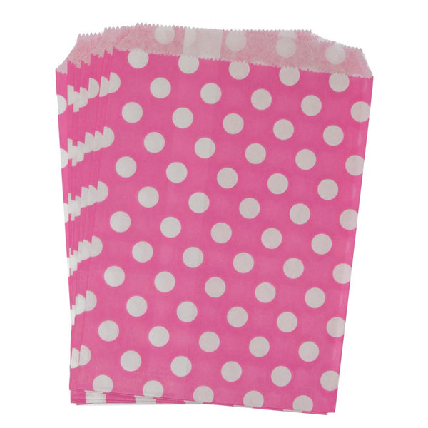 Hot Pink Polka Dot Paper Treat Bags