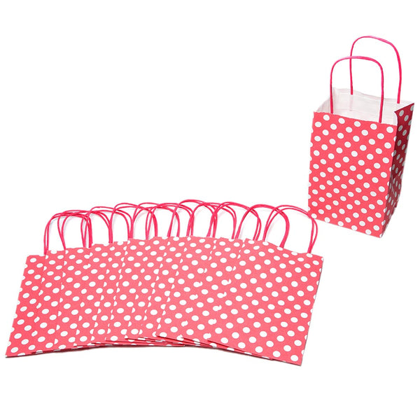 Small Hot Pink Polka Dot Kraft Gift Bags