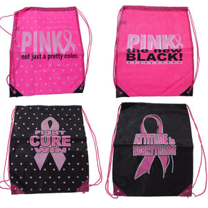 Breast Cancer Awareness Drawstring Backpack