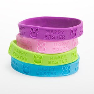 """Happy Easter"" Rubber Bracelets"